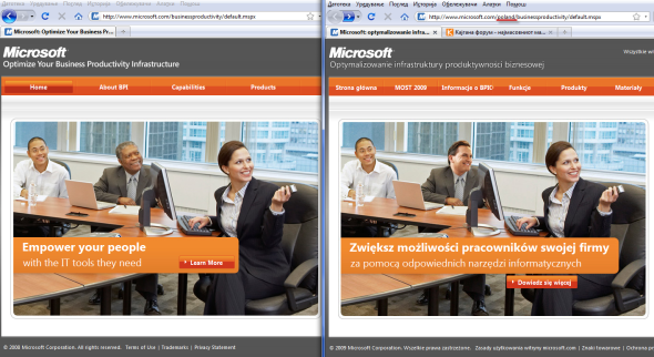 Microsoft website comparison